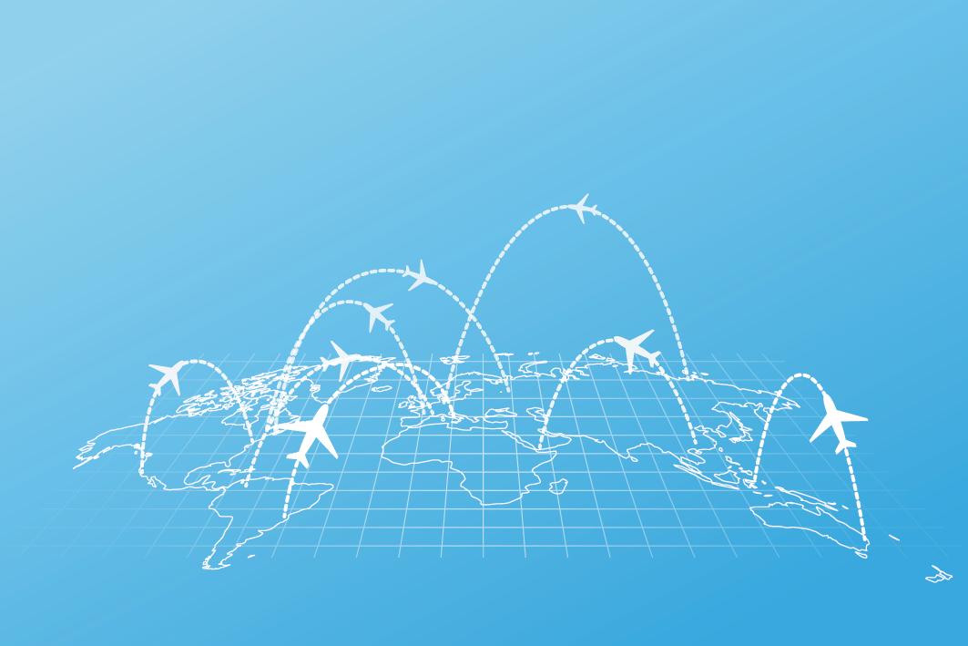 World map with flight patterns
