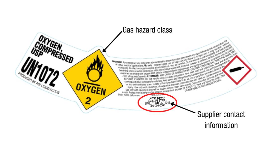 Oxygen Compressed USP Label