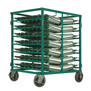 Layered Cylinder Cart for Horizontal Storage of M4, M6, and B Cylinders
