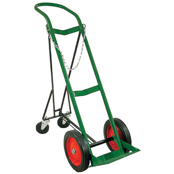 Cylinder Cart w/Dolly Style Handle and Solid Rubber Wheels