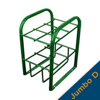 Vertical Cylinder Stand w/Hold Down Bars and Feet   Holds 6 Jumbo D Cylinders