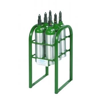 6 M6 Vertical Cylinder Rack w/Hold Down Bars and Feet