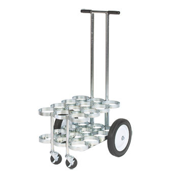 Cylinder Cart with Removable Handle and 3in Casters   Holds 12 D/E Cylinders