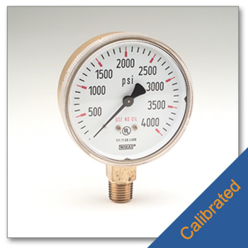 High Pressure Gauge 2 1/2Inches 0 4,000 psig Calibrated to NIST Standards