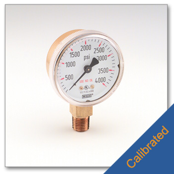 High Pressure Gauge 2 Inch Diameter Calibrated to NIST Standards
