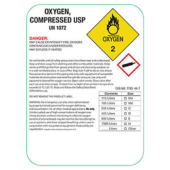 Blank Flat Pack of Compressed Oxygen Product Labels