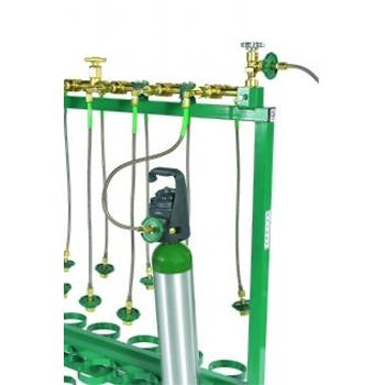 18 Place Mobile Fill Rack to fill CGA 540 Cylinders with 24Inches pigtails