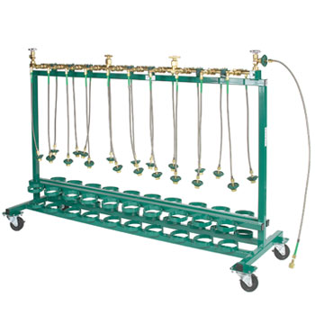 20 Place Mobile Fill Rack to fill CGA 540 Cylinders with 24Inches pigtails