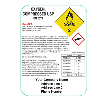 CUSTOM Oxygen Compressed Drug Label