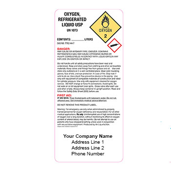 Custom Packs of 25 Refrigerated Liquid Oxygen Product Labels
