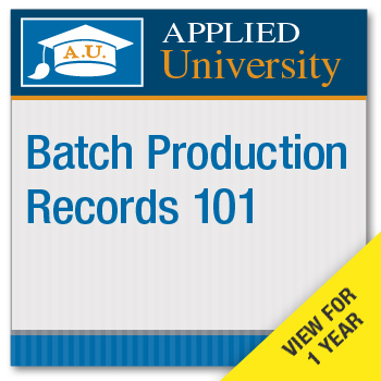 Batch Production Records 101 On Demand Class Subscription