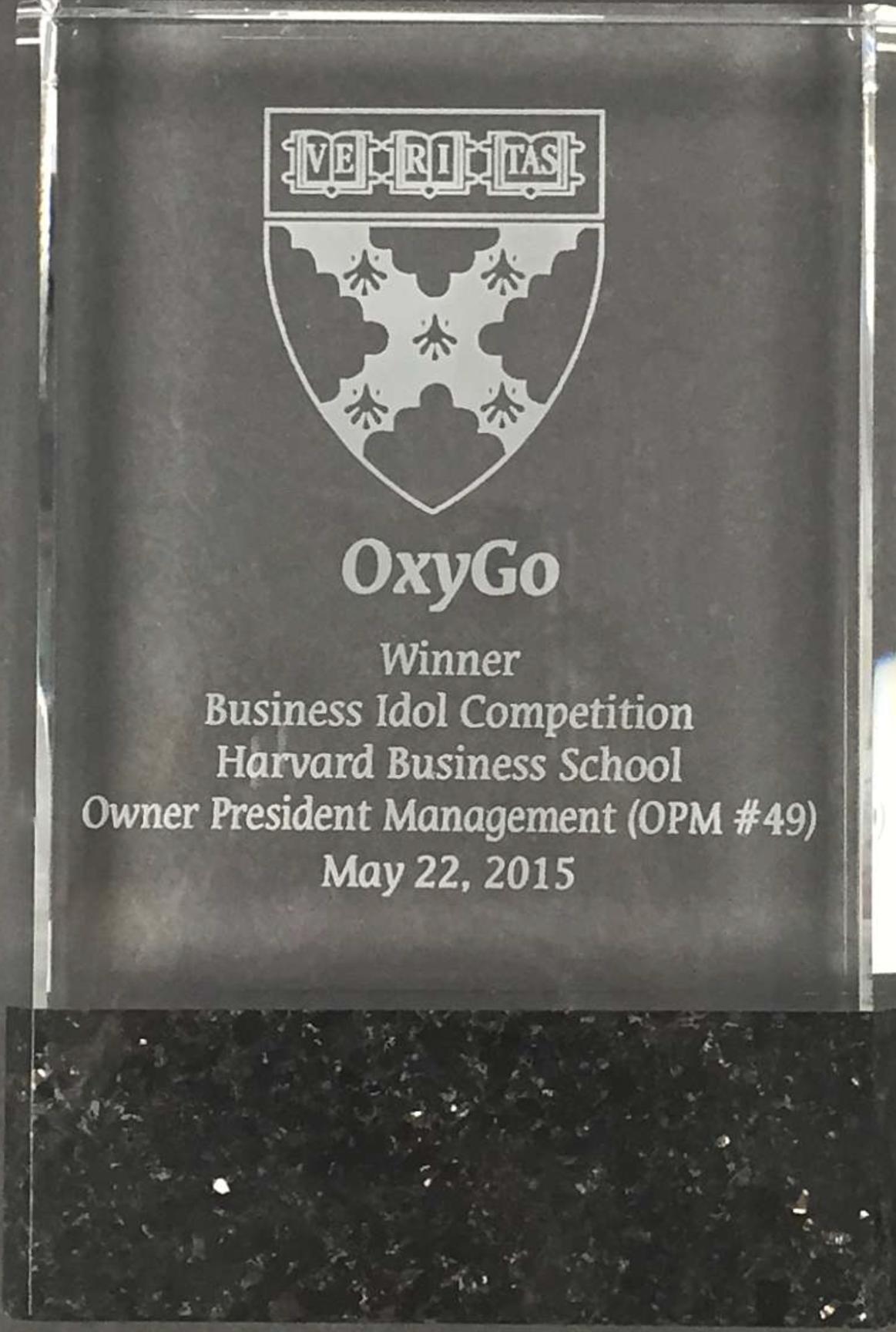 OXYGO PORTABLE OXYGEN CONCENTRATOR WINS HARVARD BUSINESS SCHOOL AWARD