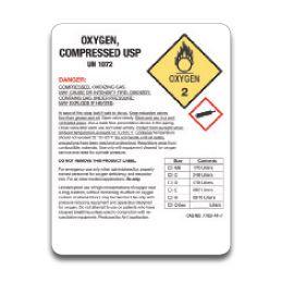Drug product labels for high pressure oxygen cylinders