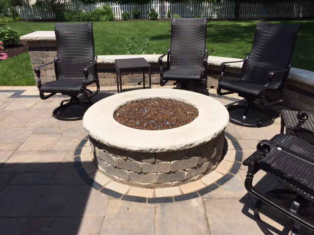 Patio with Fireplace | Avon Landscaping