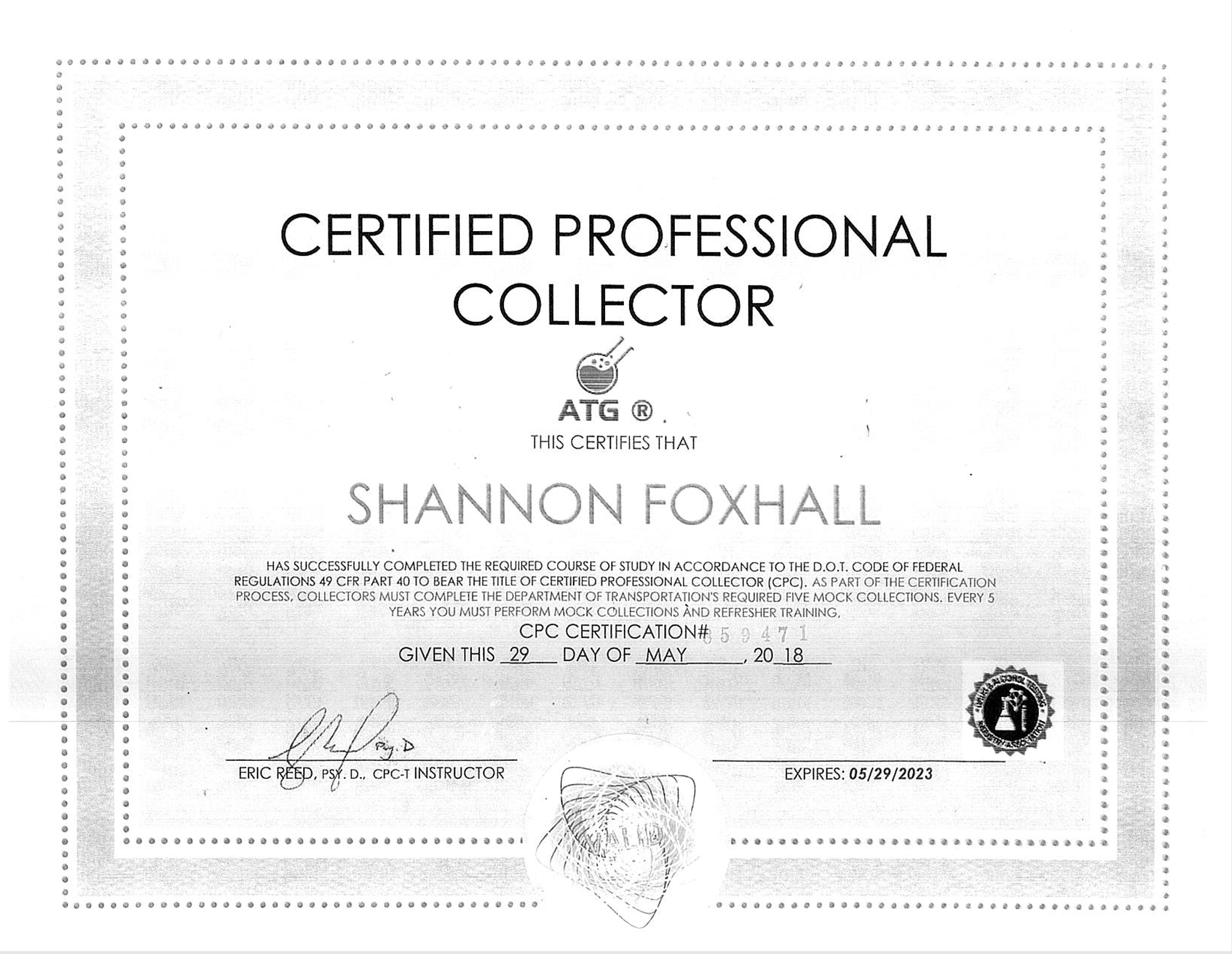 Shannon Foxhall - Certified Professional Collector | Bradley Screening