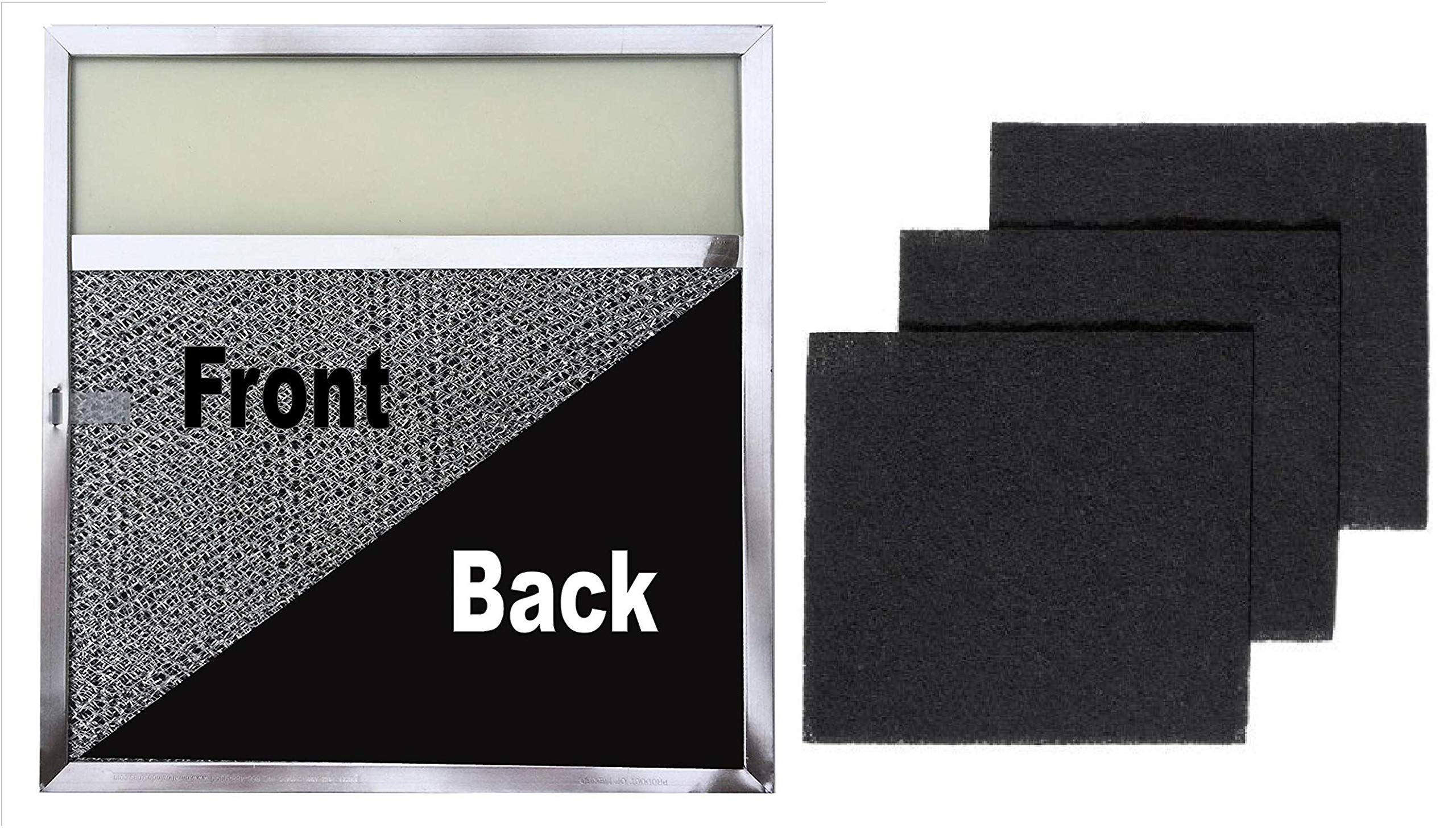 Range Filter with Lens Light + Replacement Charcoal Filters (3 Pack)   11.5 x 11.75 x .375 with Ligh