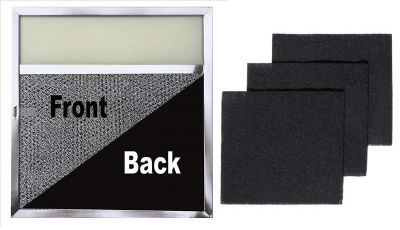 Range Filter with Lens Light + Replacement Charcoal Filters (3 Pack)   11.5 x 11.75 x .375 with Light Lens