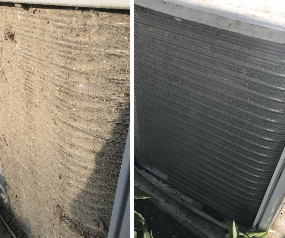An AC unit before and after cleaning Forquer Heating & Air Conditioning | North Canton, Ohio