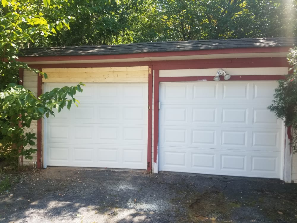 After Photo of Two Car Garage After It was Re-Framed and an Overhead Garage Door was Installed