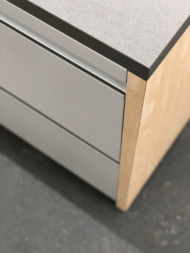 storage credenza with laminate file top and end panels