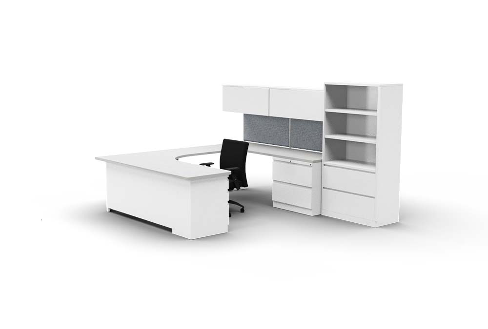 gen2 desk with 2h lateral and 3h bookcase combo