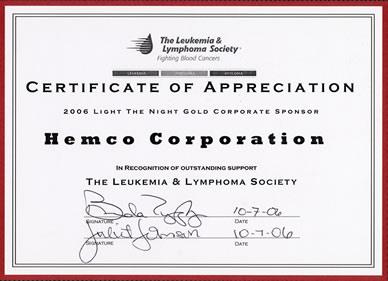 Hemco Leukemia Certificate