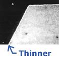Thinner chrome coating on imitator brand
