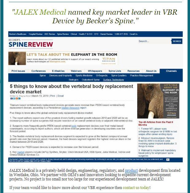 JALEX Medical named key market leader in VBR by Beckers Spine