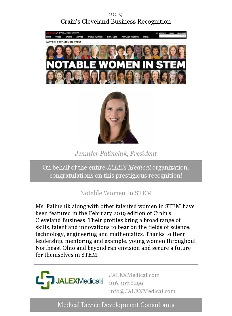 Jennifer Palinchick Receives The 2019 Notable Women in STEM Recognition