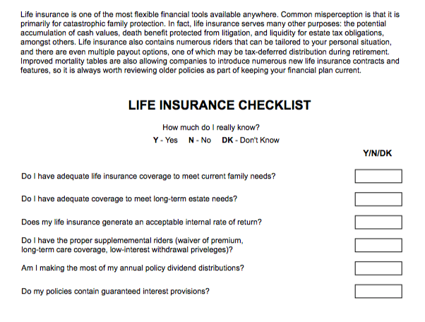 Life Insurance Checklist | Lineweaver Financial Group