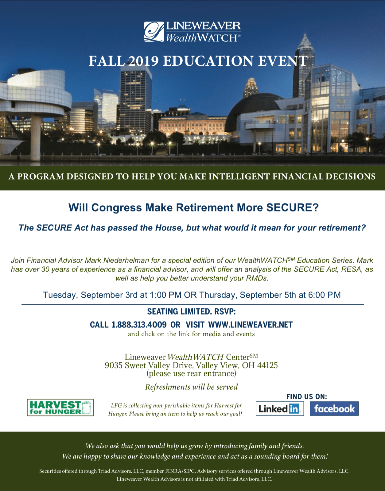 Fall 2019 Education Event | Lineweaver