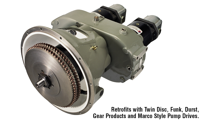 Retrofits with Twin Disc, Funk, Durst, Gear Products and Marco Style Pump Drives.