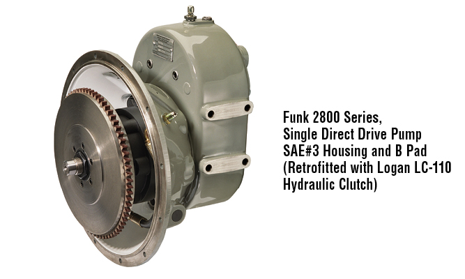 Funk 2800 Series,  Single Direct Drive Pump SAE#3 housing and B pad  (retrofitted with Logan LC-110 hydraulic clutch)