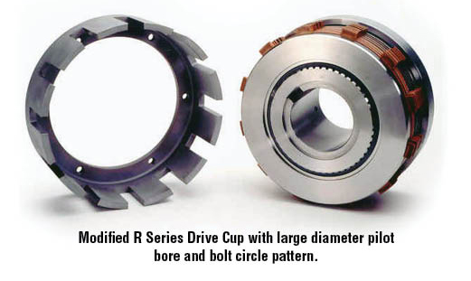 Modified R Series Drive Cup with large diameter pilot bore and bolt circle pattern.