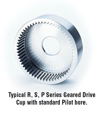 Typical R, S, P Series Geared Drive Cup with standard Pilot bore.