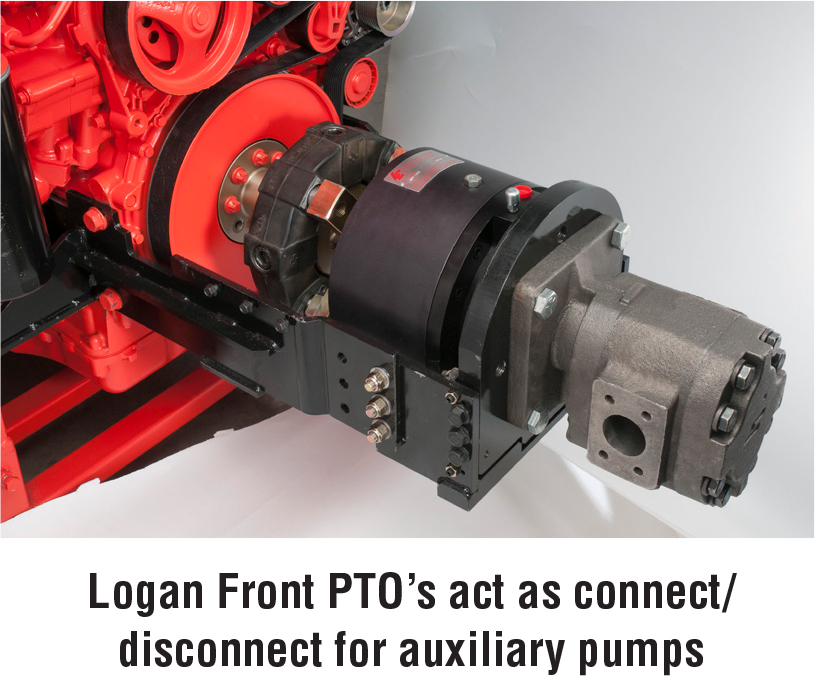 Logan Front PTO 19s act as connect/disconnect for auxiliary pumps