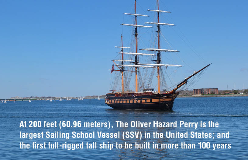 At 200 feet (60.96 meters), The Oliver Hazard Perry is the largest Sailing School Vessel (SSV) in the United States; and the first full-rigged tall ship to be built in more than 100 years