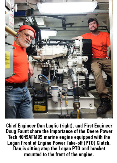 Chief Engineer Dan Luglio (right), and First Engineer Doug Faunt share the importance of the Deere Power Tech 4045AFM85 marine engine equipped with the Logan Front of Engine Power Take-off (PTO) Clutch. Dan is sitting atop the Logan PTO and bracket mounted to the front of the engine.