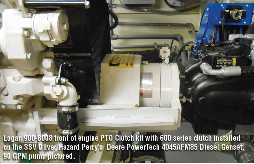 Logan 900-8008 front of engine PTO Clutch kit with 600 series clutch installed on the SSV Oliver Hazard Perry 19s Deere PowerTech 4045AFM85 Diesel Genset. 90 GPM pump pictured.