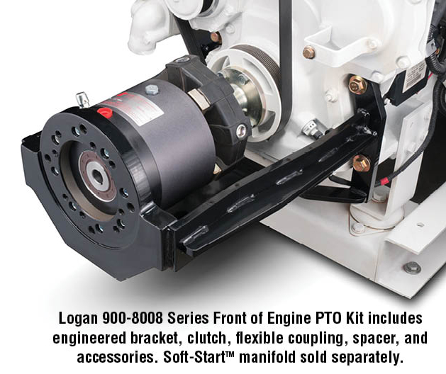 Logan 900-8008 Series Front of Engine PTO Kit includes engineered bracket, clutch, flexible coupling, spacer, and accessories. Soft-StartTM manifold sold separately.
