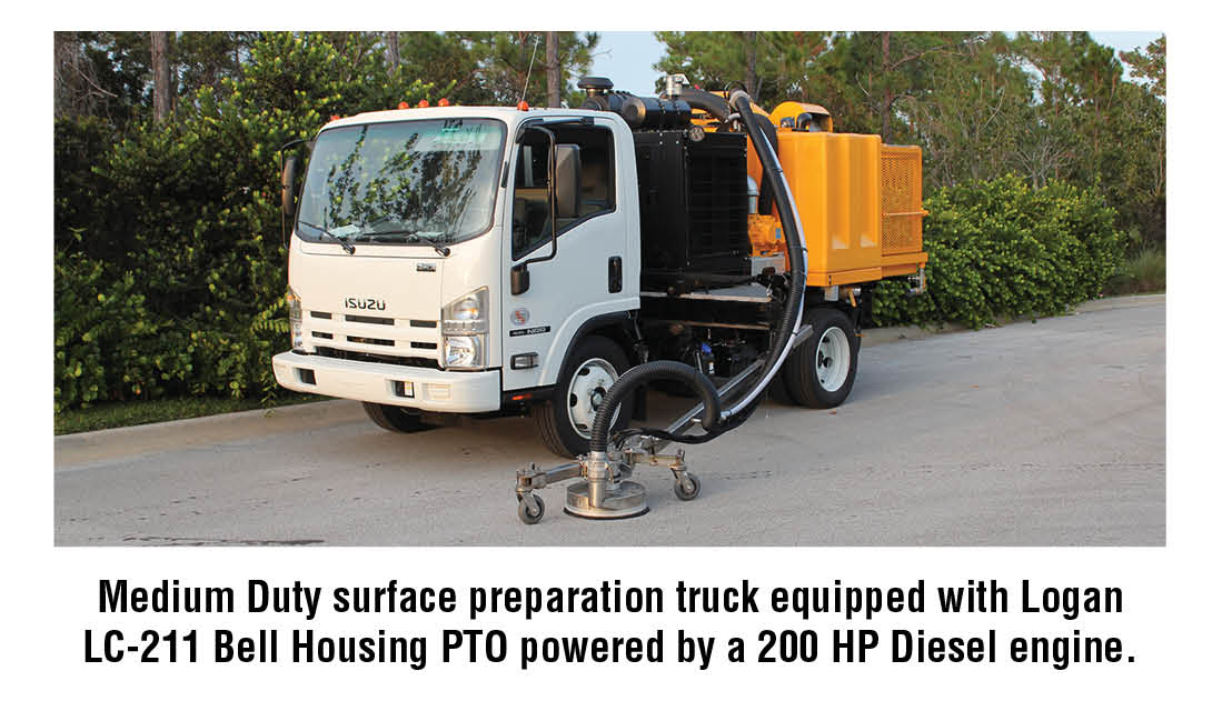 Medium Duty surface preparation truck equipped with Logan LC-211 Bell Housing PTO powered by a 200 HP Diesel engine.
