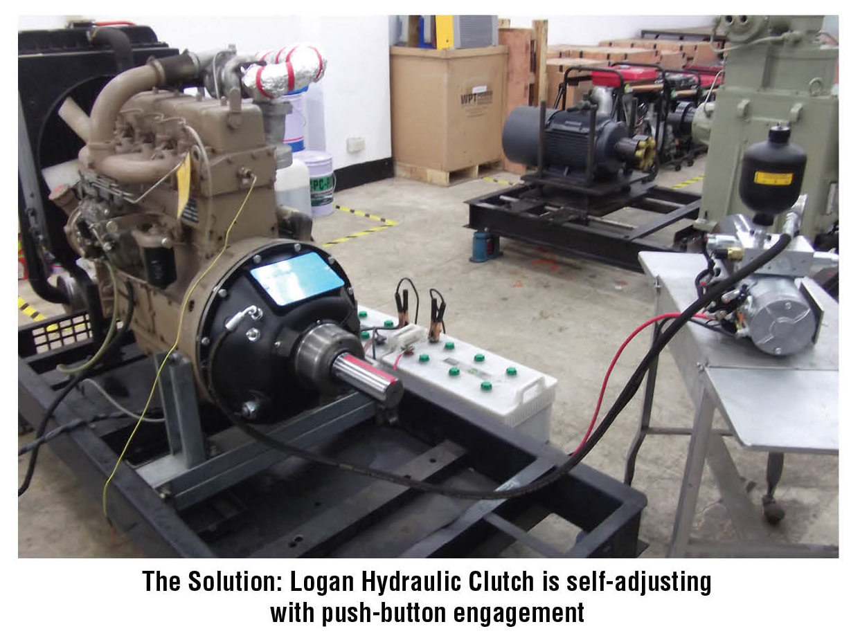 The Solution: Logan Hydraulic Clutch is self-adjusting  with push-button engagement