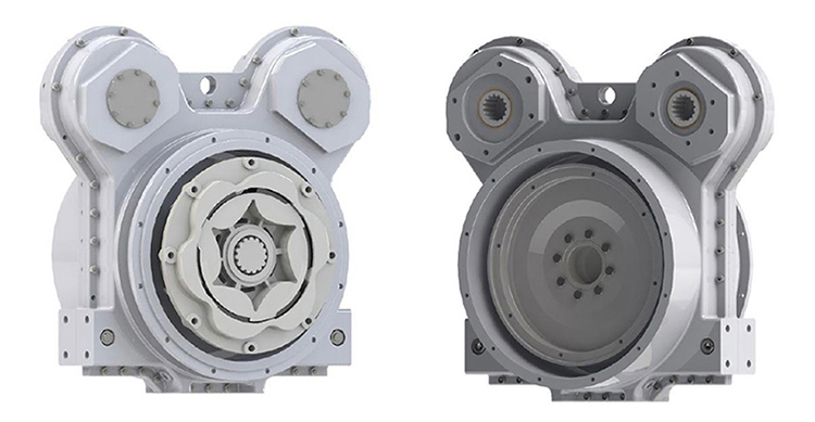 FlexaDrive 2 position pump drive (on the left) - Input Side and Output Side on the right side