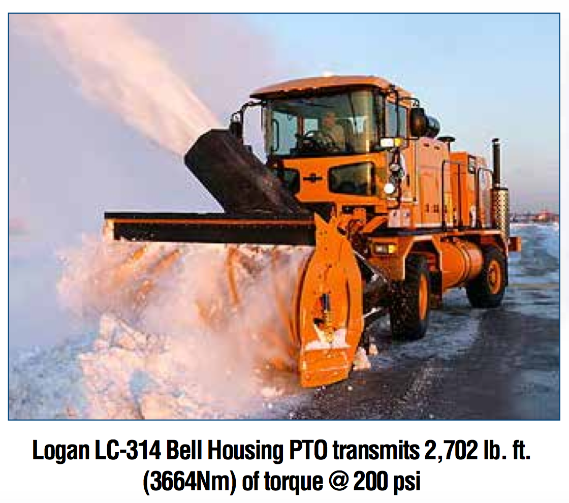 Logan LC-314 Bell Housing PTO transmits 2,702 lb. ft. (3664Nm) of torque @ 200 psi