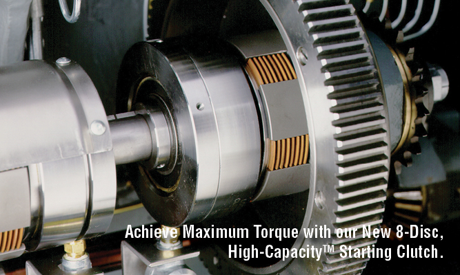Achieve Maximum Torque with our New 8-Disc, High-CapacityTM Starting Clutch.