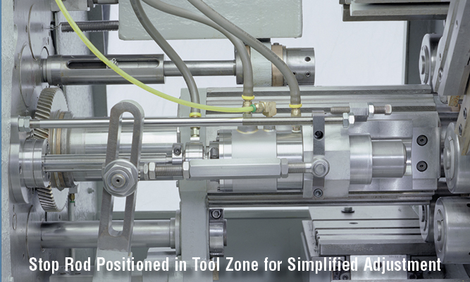 Stop Rod Positioned in Tool Zone for Simplified Adjustment
