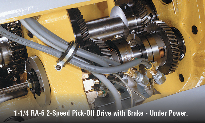 1-1/4 RA-6 2-speed pick-off drive with brake - under power. Stop and drop in machine