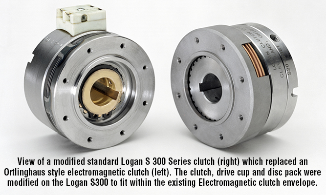 View of a modified standard Logan S 300 Series clutch (right) which replaced an Ortlinghaus style electromagnetic clutch (left). The clutch, drive cup and disc pack were modified on the Logan S300 to fit within the existing Electromagnetic clutch envelope.
