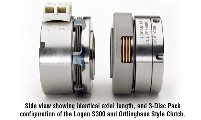 Side view showing identical axial length, and 3-Disc Pack configuration of the Logan S300 and Ortlinghaus Style Clutch.