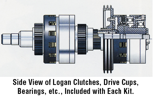 Side view of logan clutches, drive cups, bearings, etc., included with each kit